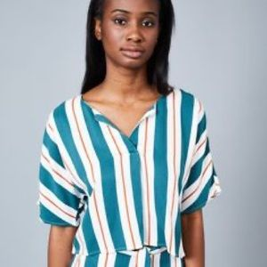 Native Youth cropped striped shirt